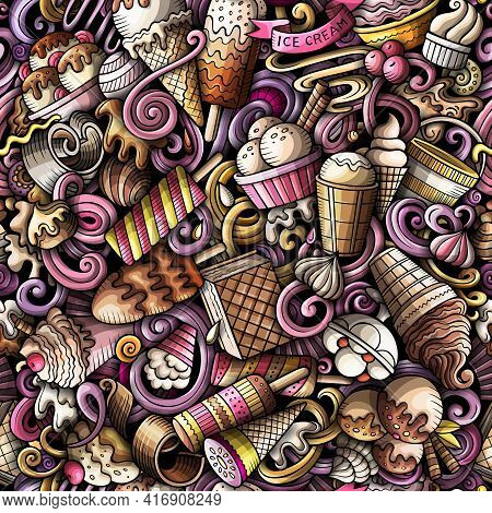 Cartoon Doodles Ice-cream Seamless Pattern. Backdrop With Ice Cream Symbols And Items. Colorful Deta