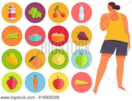 Overweight Girl Looks At Symbols Of Fruits And Vegetables. Proper Nutrition And Healthy Lifestyle