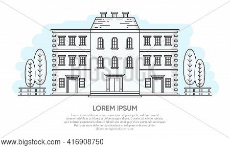 Vector Illustration Of A Classic Building With Window And Chimney. Suitable For Design Element From