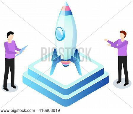 Guys Examine New Invention And Develop Creative Business Idea. Isometric Rocket As Metaphor Idea