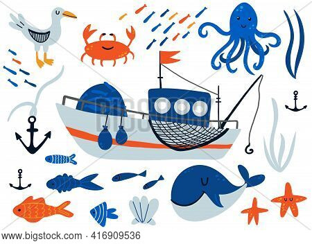 Fishing Boat And Underwater Animals Set. Cartoon Hand Drawn Sail Childish Collection, Water Transpor