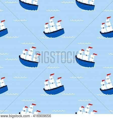 Sailing Ship Seamless Pattern. Cartoon Hand Drawn Colorful Sail Childish Collection, Water Transport