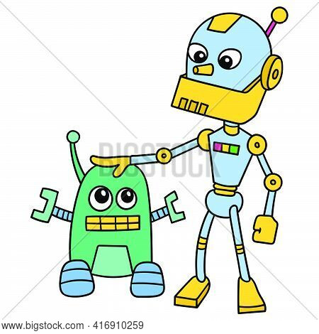 Two Robots Big And Small Make Friends With Each Other, Doodle Draw Kawaii. Vector Illustration Art