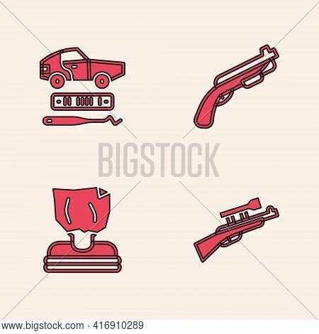 Set Sniper Rifle With Scope, Car Theft, Police Shotgun And Kidnaping Icon. Vector