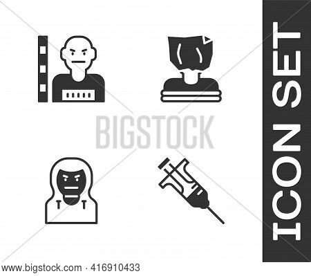 Set Syringe, Suspect Criminal, Thief Mask And Kidnaping Icon. Vector