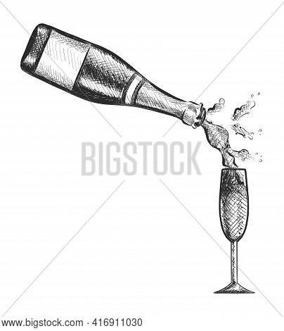 Vector Hand Drawn Bottle Of Champagne Poring In The Glass.