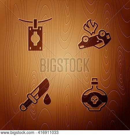 Set Poison In Bottle, Money Laundering, Bloody Knife And Burning Car On Wooden Background. Vector