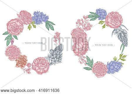 Floral Wreath Of Pastel Peony, Carnation, Ranunculus, Wax Flower, Ornithogalum, Hyacinth Stock Illus