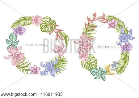 Floral Wreath Of Pastel Monstera, Banana Palm Leaves, Strelitzia, Heliconia, Tropical Palm Leaves, O