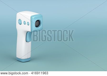 3d Illustration Of Infrared Forehead Thermometer On Blue Background
