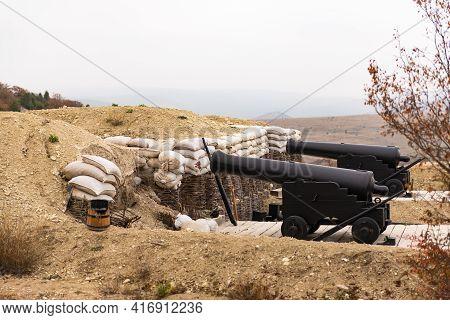 The Russian Or Crimean War In Crimea In 1854. Gordon\'s British Mortar Battery At The Siege Of Sevas