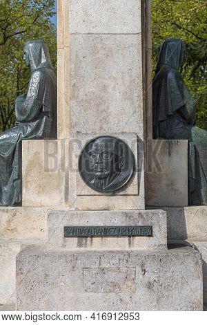 Burgos, Spain - April 9, 2021: Bronze Medallion With The Portrait Of The Dominican Santiago Ramirez,