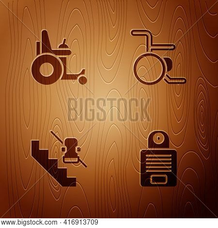 Set Intercom, Electric Wheelchair, Disabled Elevator And Wheelchair On Wooden Background. Vector