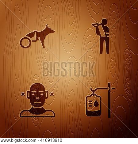Set Iv Bag, Dog In Wheelchair, Deaf And Human Broken Arm On Wooden Background. Vector