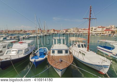 Port Of Charming Aegina Town With Yachts And Fishermen Boats Docked In Aegina Island, Saronic Gulf,