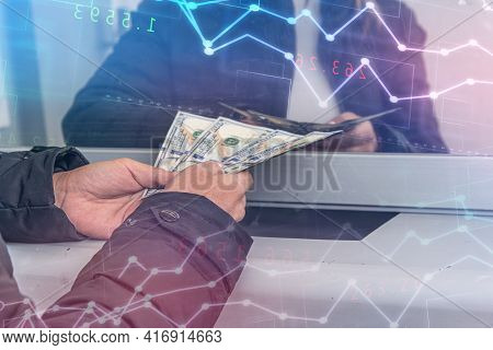 Female Hands With Banknotes Of International Currencies In Exchange House