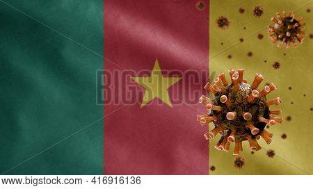 3D, Flu Coronavirus Floating Over Cameroonian Flag. Cameroon Pandemic Covid 19
