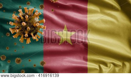 3D, Cameroonian Flag Waving With Coronavirus Outbreak. Cameroon Covid 19