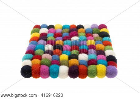 Colored Balls Made Of Felt Isolated On White Background