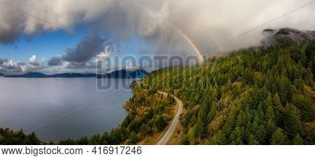 Aerial Panoramic View Of The Sea To Sky Highway In Howe Sound, North Of Vancouver, British Columbia,