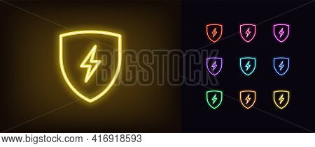 Neon Electric Shield Icon. Glowing Neon Shield With Lightning Sign, Outline Charge Pictogram. Safe C