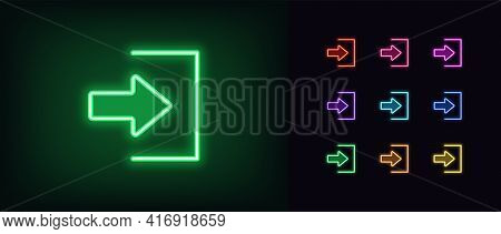 Neon Login Icon. Glowing Neon Join Sign, Outline User Entry Pictogram In Vivid Colors. Online Access