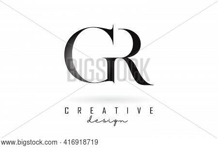G R Gr Letter Design Logo Logotype Concept With Serif Font And Elegant Style. Vector Illustration Ic