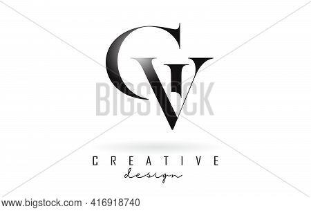 Cv C V Letter Design Logo Logotype Concept With Serif Font And Elegant Style. Vector Illustration Ic