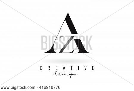 Az A Z Letter Design Logo Logotype Concept With Serif Font And Elegant Style. Vector Illustration Ic