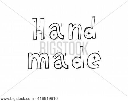 Hand Made. Vector Text Font Icon. Sign. Hand Lettering.