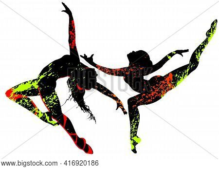 Beautiful Dancers In Bright Multicolored Splatters On A White Background.