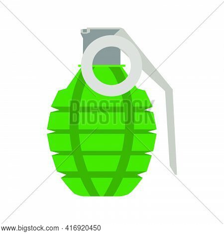 Grenade Weapon Bomb Military Vector Icon Army Illustration. Soldier Grenade Combat Object Munition D