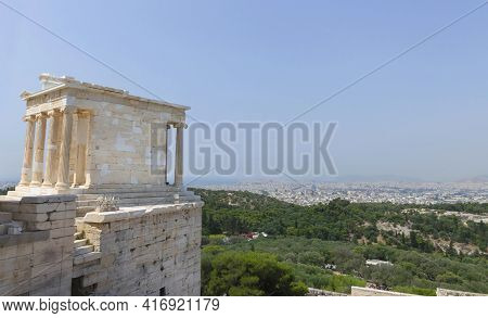 Ruins Of Propylaea, The Monumental Gateway That Serves As The Entrance To The Acropolis Of Athens Ru