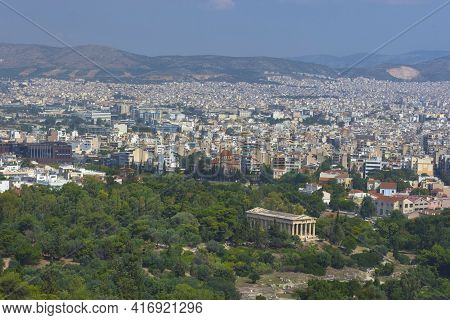 View Of The Athens And The Ancient Temple Of Hephaestus, A Doric Greek Temple In The North-west Side
