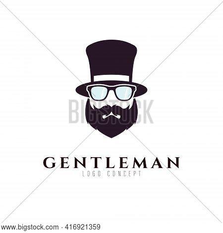 Gentleman With Beard, Hat Logo Design Symbol Template Flat Style Vector Illustration