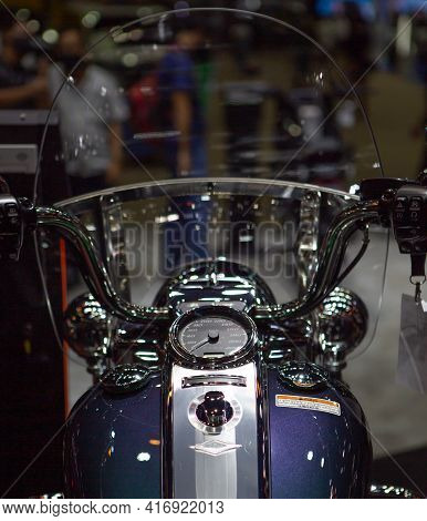 Bangkok, Thailand - April 4, 2021: View Of Harley Davidson Road King Speedometer Exhibited In Bangko