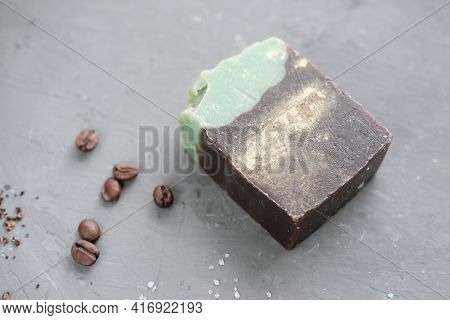 Exfoliating Coffee Soap Hand Made. Coffee Beans. Body Polishing Soap Bar. Skin Care Anti Cellulite T