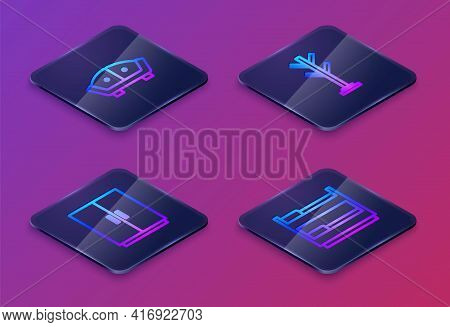 Set Isometric Line Sofa, Wardrobe, Coat Stand And Bunk Bed. Blue Square Button. Vector