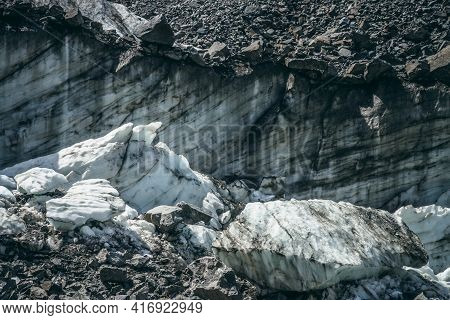 Nature Background With Icefall Near Glacier Wall With Cracks And Scratches. Natural Backdrop With Ic