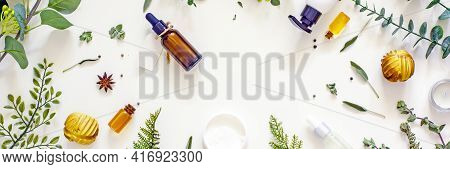 Natural Organic Cosmetic Flat Lay. Home Spa Concept.organic Bio Cosmetics With Herbal Ingredients. N