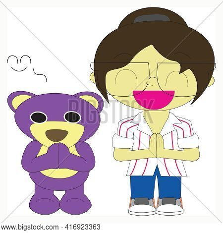 Mr.purple Bear And Friend Is Greeting By Paying Obeisance