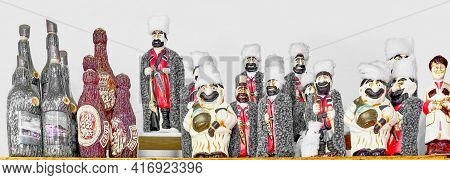 Sochi, Russia - February 25, 2020: Handmade Souvenirs Of The Caucasus For Tourists. Clay Wine Bottle