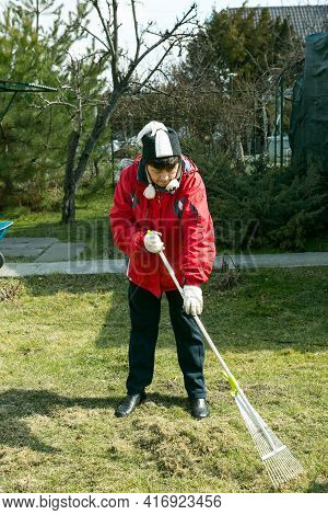 The Woman Works In The Country. Aeration And Lawn Cleaning With A Large Rake. Gardening To Improve T
