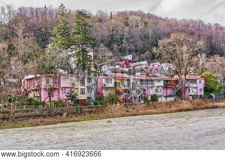 Colorful Houses On The Mountain River Khosta Bank. Winter Cityscape. Khosta, A Resort On Black Sea C