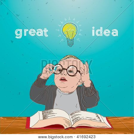 Great idea, kid with book and bulb above his head