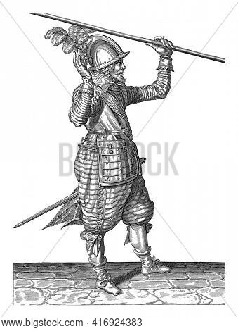 Soldier Lifting His Skewer with His Left Hand Above His Left Shoulder, His Right Hand Raised to Take It Over, vintage engraving.