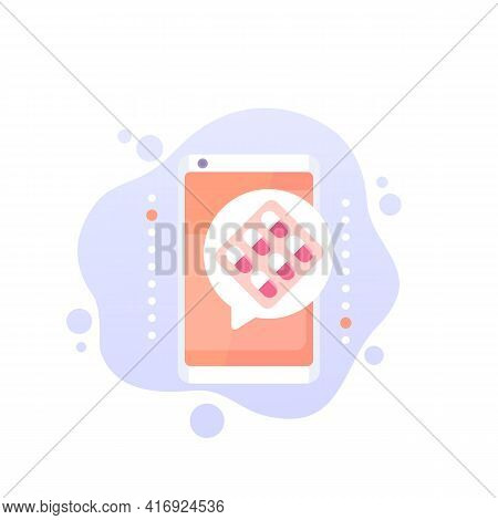 Pill Reminder App Vector Icon With Phone