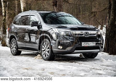Moscow, Russia - February 2, 2020: Exterior Of The New Premium Suv Honda Pilot In Winter Forest Land