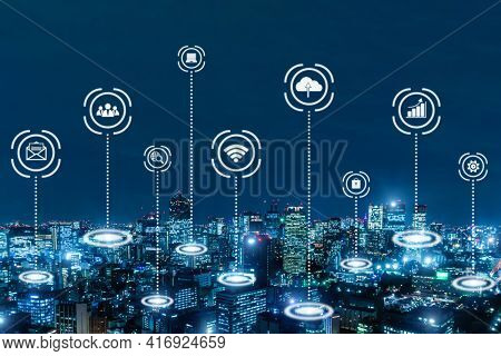 Iot (internet Of Things). Global Media Link Connecting On Night City Background, Digital, Internet,