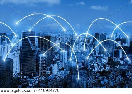 Smart City. Global Media Link Connecting On Night City Background, Digital, Internet, Communication,